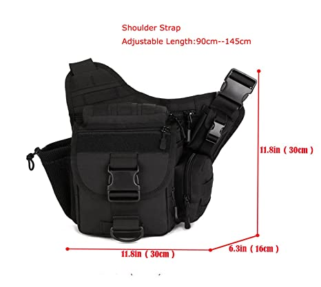 6daa956b3fc8 Freedom-vp Military Camera Bag Pack Multi-functional Tactical Messenger Bag  Waist Pack For Hiking Camping Cycling (Black)  Amazon.co.uk  Sports    Outdoors