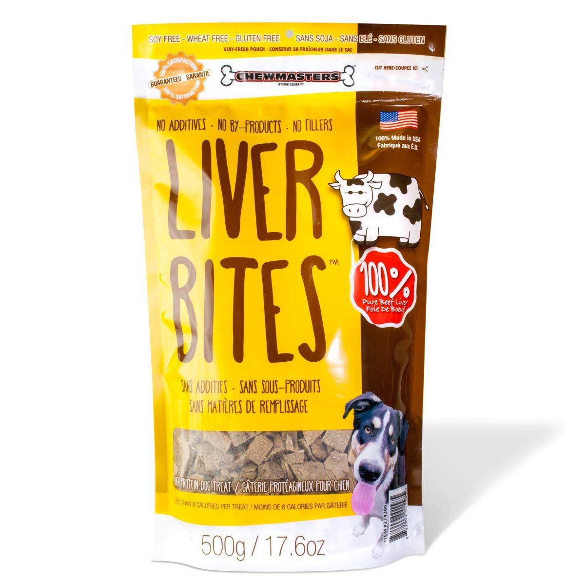Chewmasters Beef Liver Bites Freeze Dried Dog Treats Bag, 17.6 oz (2 Packs)