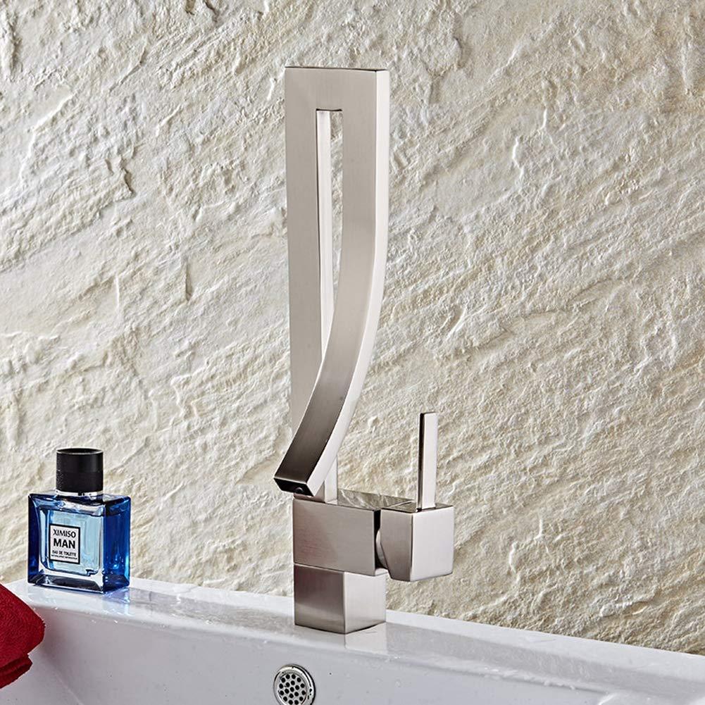 Metallicfaucet European Style Tall Basin Mixer Tap Creative all Brass Brushed Hot Cold Bathroom Vanity Vessel Sink Faucet,MetallicFaucet