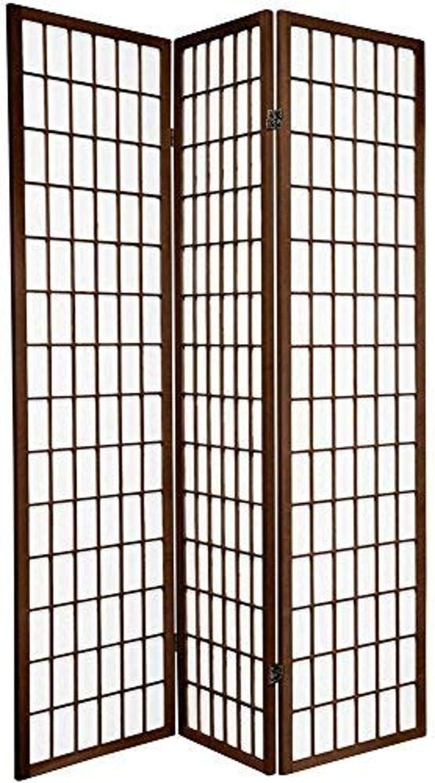 Oriental Furniture 6 ft. Tall Window Pane Shoji Screen - Walnut - 3 Panels