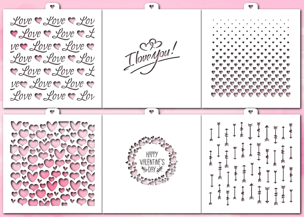 Cookie and Craft Stencil Set 14 February, Love, 6 pcs