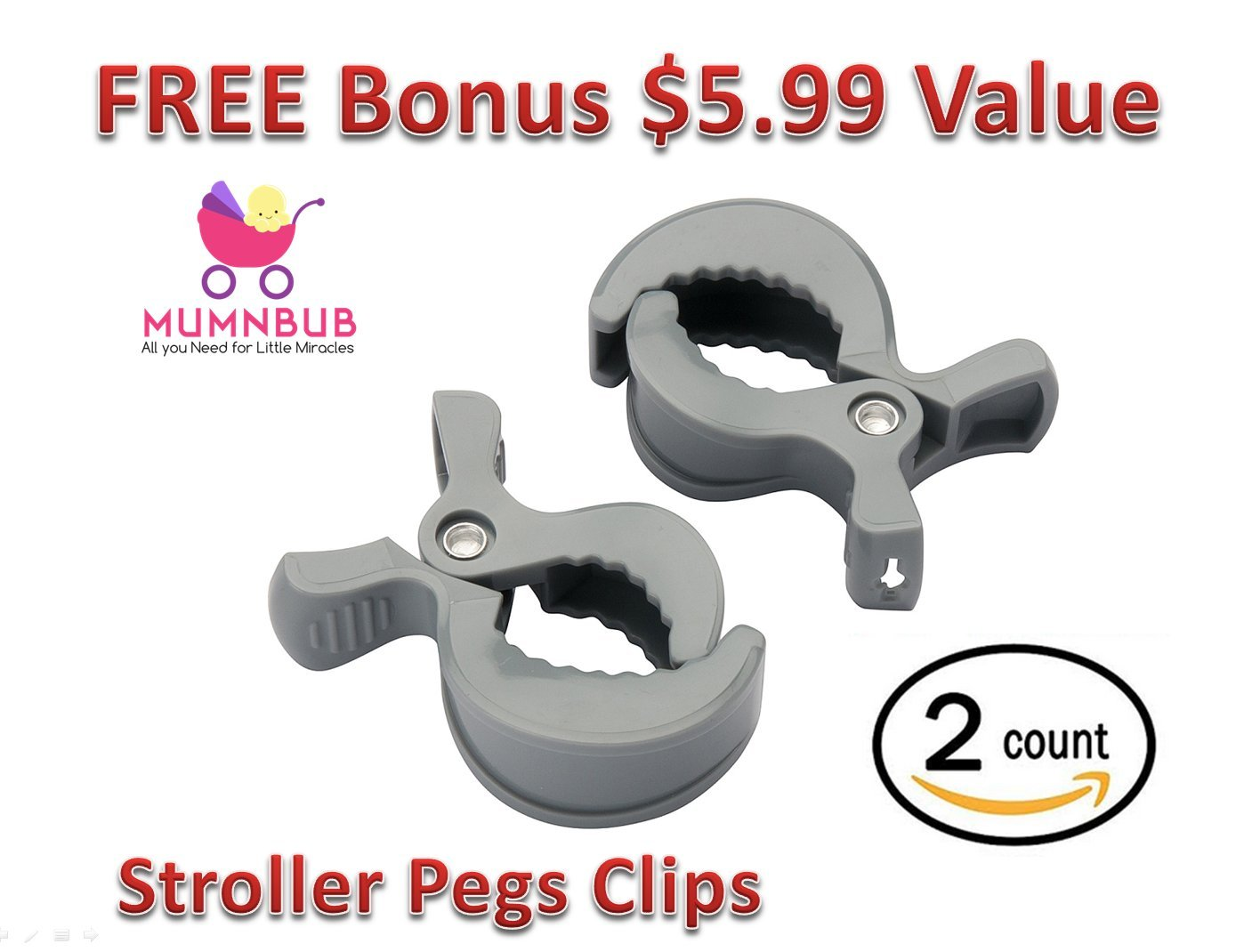 Universal Fit Perfect Pram Accessories for Hanging Diaper Bag 2 Pack MumnBub Stroller Hook Groceries -Includes 2 Stroller Pegs Shopping Bag Multi-Purpose Heavy Duty Buggy Clips for Mommy Grey