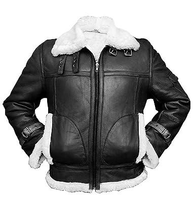882245890 Men's Aviator RAF B3 Sheepskin Faux Fur Shearling Black & Brown Bomber  Flying Leather Jacket