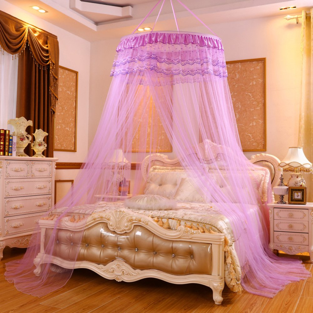 LUSTAR® Princess Lace Mosquito Net Bed Canopy For Children Fly Insect Protection Indoor Decorative Height 2.8m Top Diameter 0.6-1m,Purplea