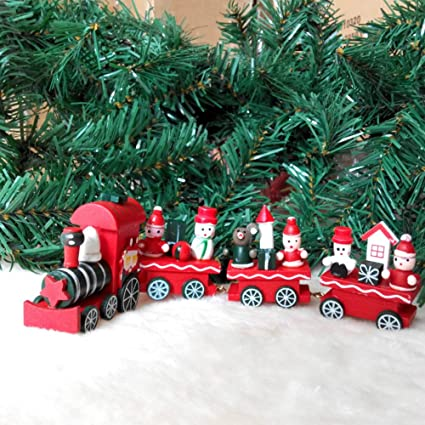 lemongo kids toys wooden train set decor christmas train decoration mini - Christmas Train Decoration