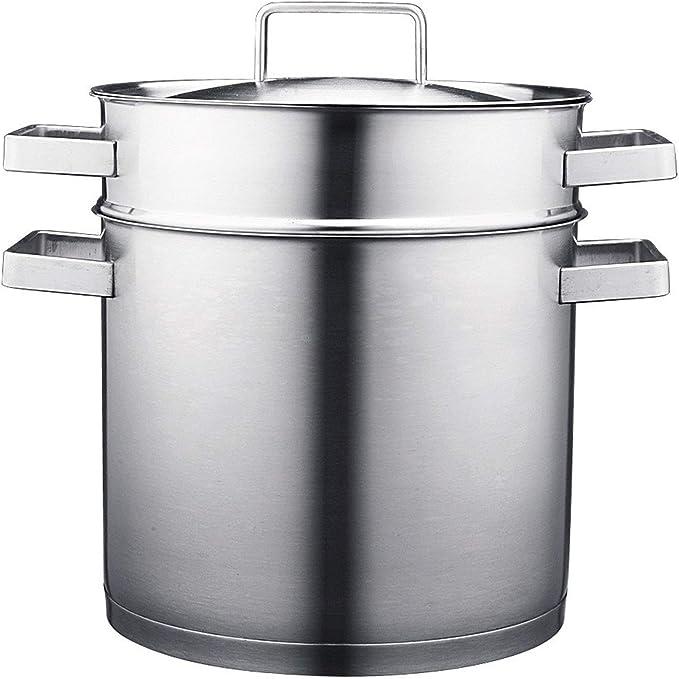 GFBVC Cacerola Duradera De Acero Inoxidable 304 del Oído Sopa De Olla 24cm Doble Sopa De Escoria Separación De Drenaje Espaguetis Pot Utensilios de Cocina para la Cocina de inducción