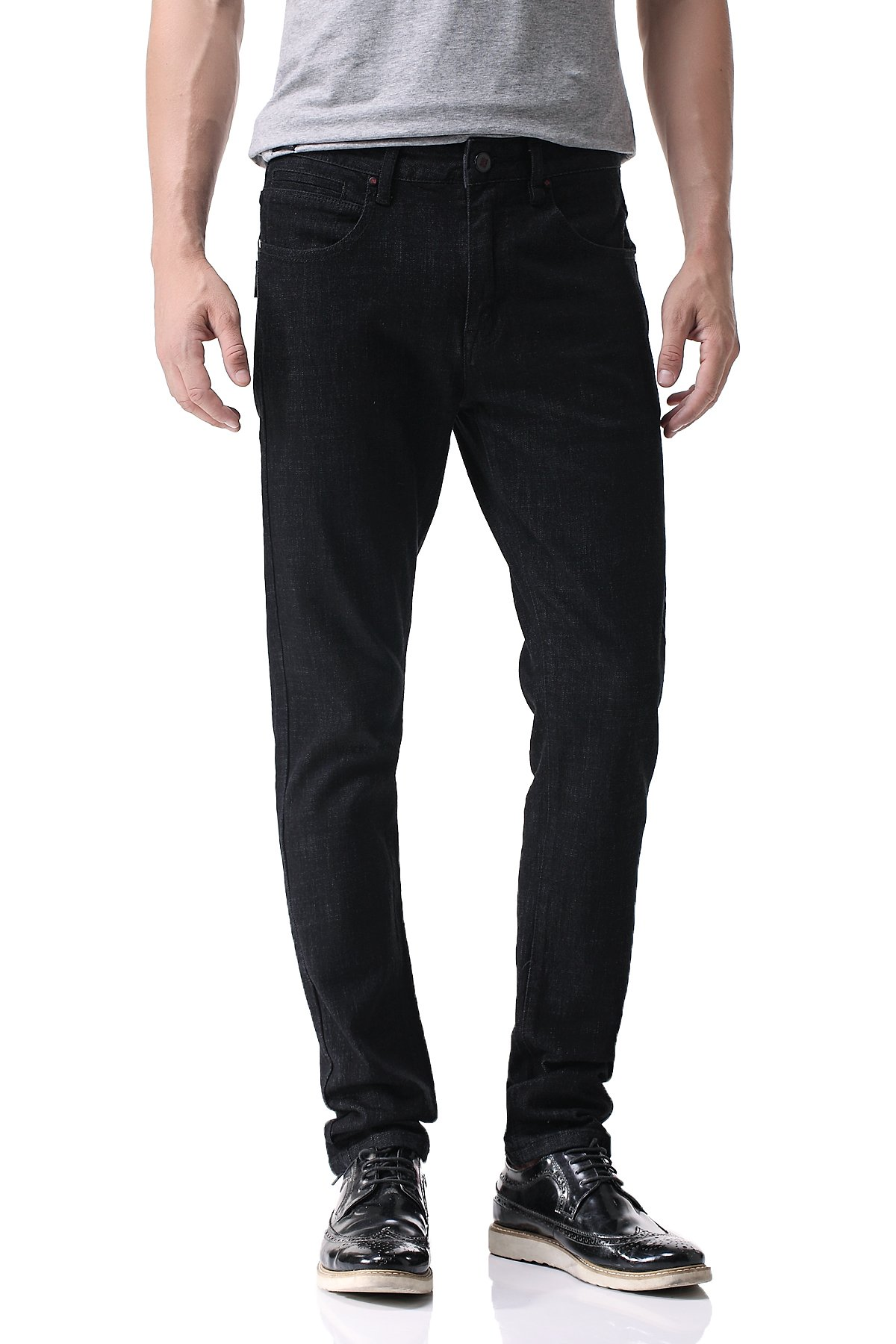 Pau1Hami1ton D-02 Men's 5-Pocket Slim Jeans(34,Black)