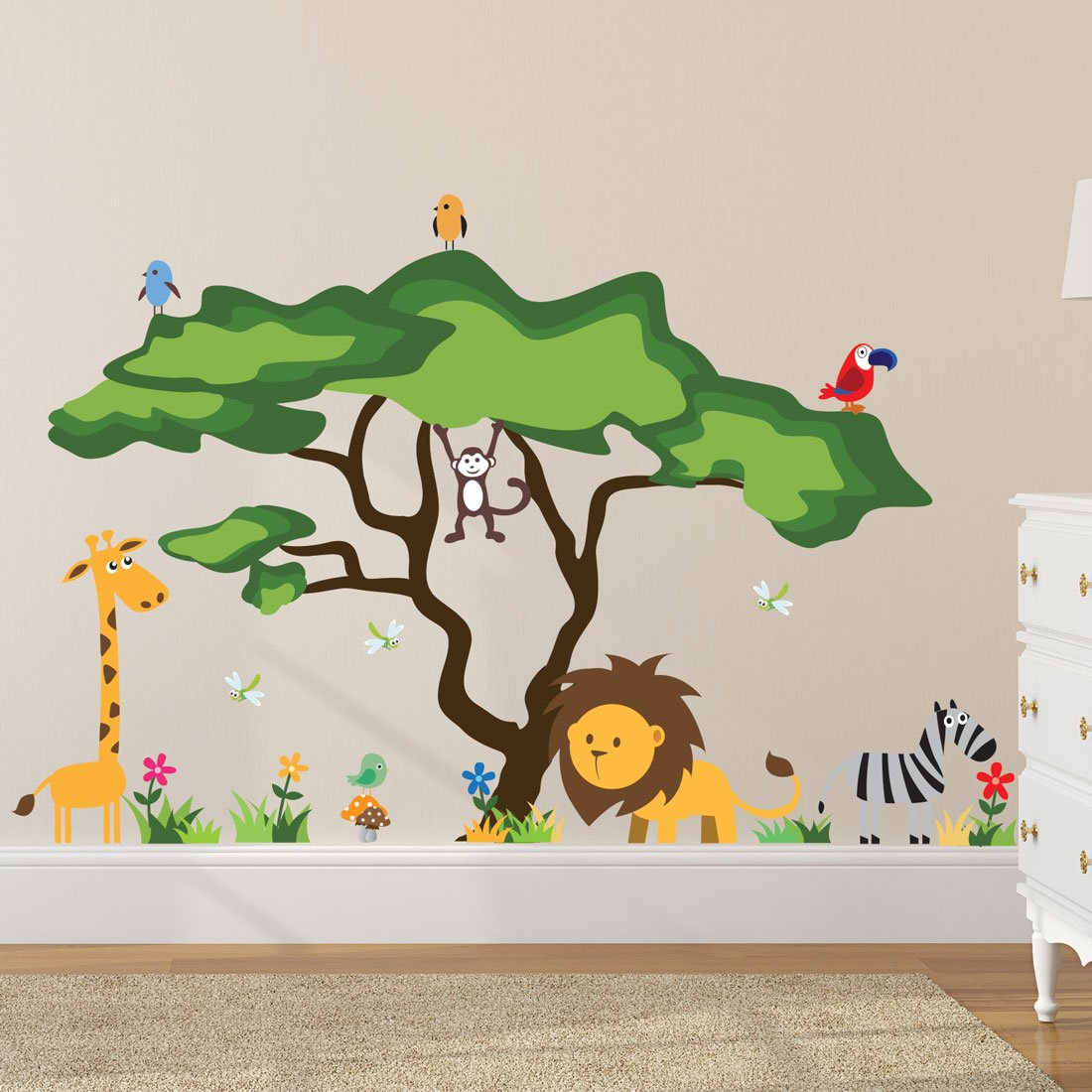 Amazoncom Timber Artbox Cute Animals In The Jungle Wall Decals - How do you put a wall sticker on
