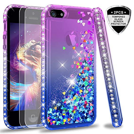 brand new 7043f 0e469 iPhone 5S Case, iPhone SE Case with [2 Pack] Tempered Glass Screen  Protector for Girls Women, LeYi Glitter Bling Liquid Quicksand TPU  Protective Phone ...
