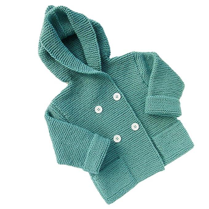 Abrigo para bebé en punto,Yannerr niños niñas traje ropa botón con capucha suéter cardigan