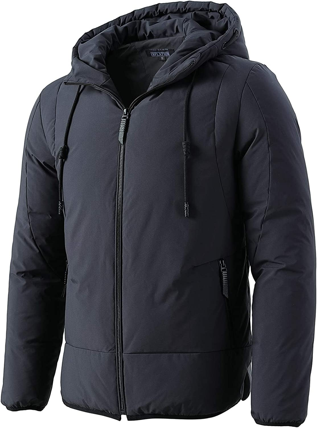 INFLATION Mens Lightweight Water-Resistant Packable Puffer Hooded Down Jacket