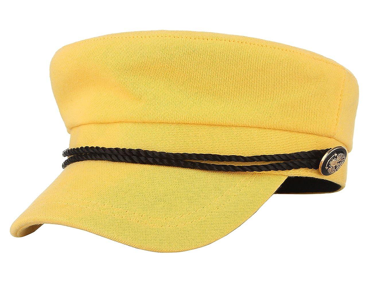 Gemvie Women Greek Flat Top Fisherman Hat Breton Fiddler Hat