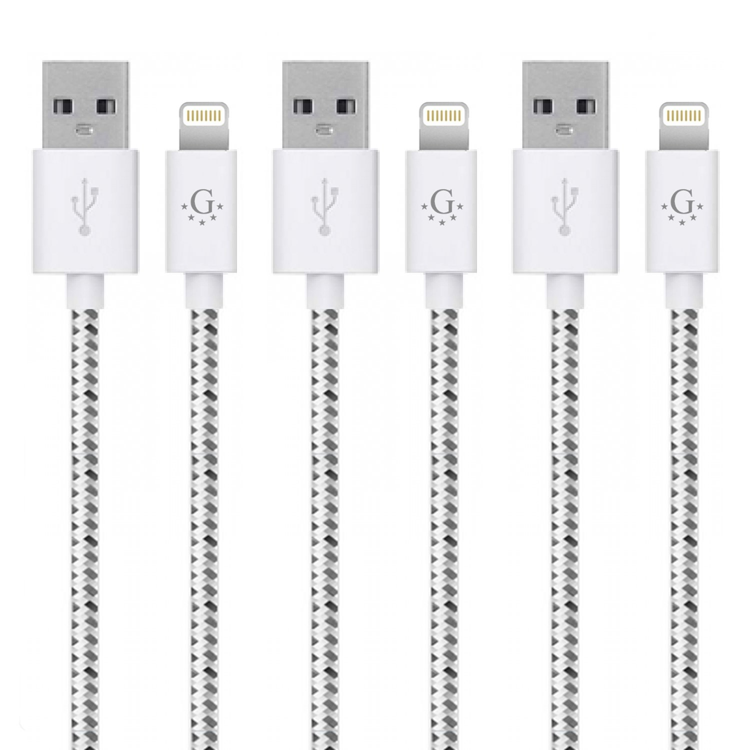 Go Beyond(TM) 3 Feet 8 Pin Fabric Braided Nylon Premium Durable iPhone 5/6 Data Sync / Charging Cable for iPhone 6/6 Plus, iPhone 5/5S/5C , iPad Mini, iPod Touch 5th Generation (SHIPPED IN SAME BUSINESS DAY. Compatible with NEW iOS) (Bundle of 3 White Nyl