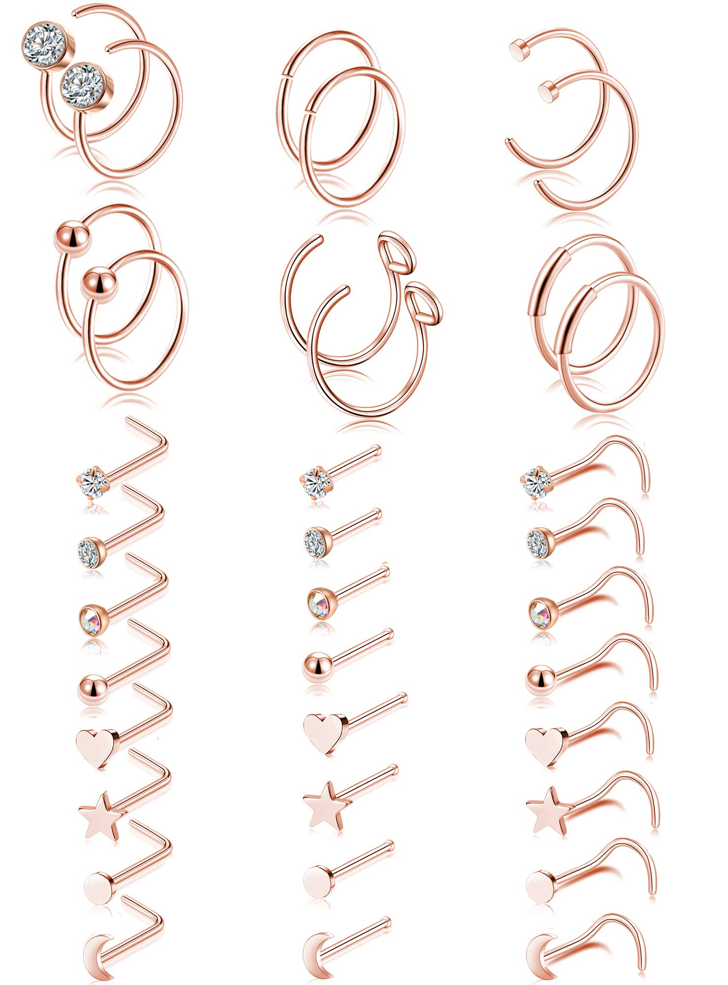 Tornito 20G 36Pcs Stainless Steel L Shaped Nose Ring CZ Nose Stud Retainer Labret Nose Piercing Jewelry (A0:30Pcs,Rose Gold Tone)