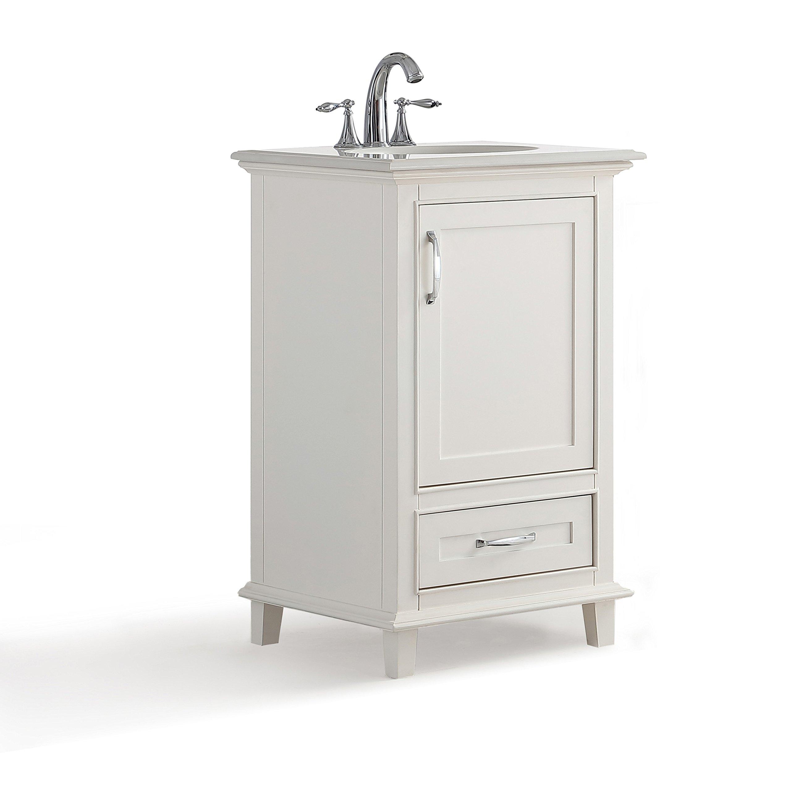 Simpli Home Ariana 20 inch Bath Vanity with Bombay White Quartz Marble Top Soft White