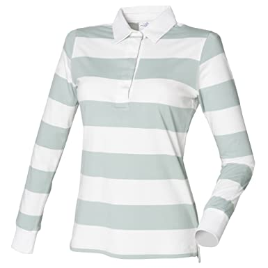 Front Row Womens Ladies Striped Rugby Polo Shirt