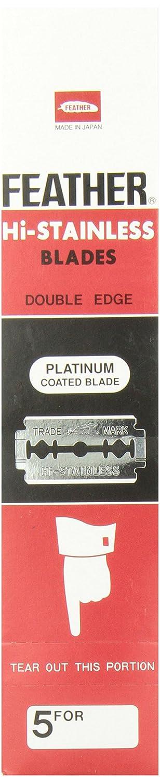100 FEATHER Hi-Stainless Platinum Double Edge Razor Blades 5's FEATHER JAPAN FEATHERNERE