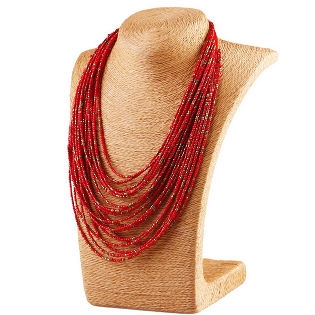 Mecoo Multicolor Bohemia Style Retro Strand Necklace Multilayer Drop Chain Necklace for Women (Red) by ME COO