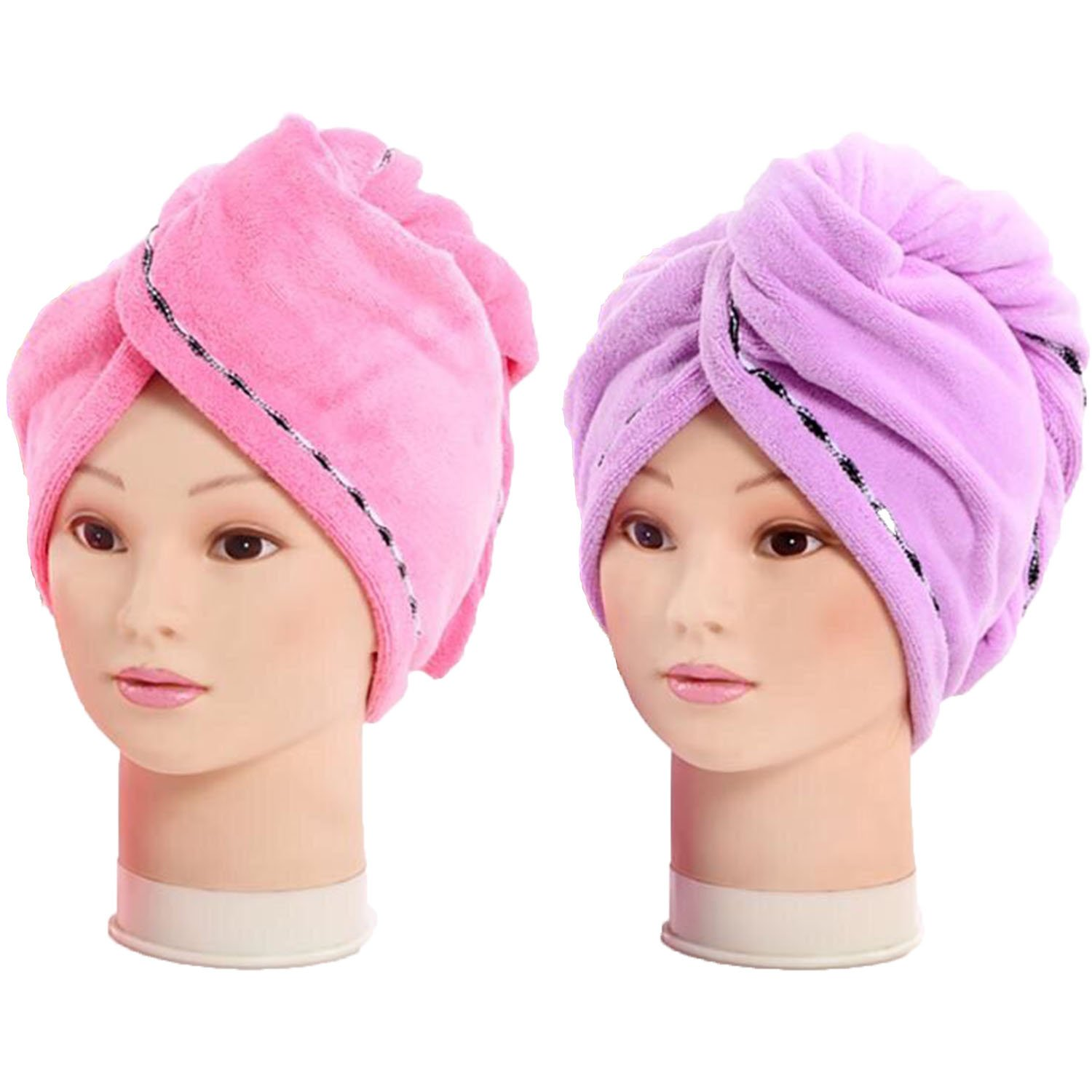 2 Pack Fast Hair Drying Towels Microfiber Ultra Absorbent Hair Turban Quick Dry Cap, Long Hair Wrap Bath Shower Head Towel 10inch X 25inch Pink & Purple Ruidoo