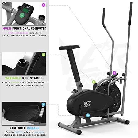 We R Sports 2-IN-1 Elliptical Cross Trainer - Elíptica de fitness (compacto, bajo impacto), color plateado: Amazon.es: Deportes y aire libre