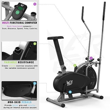 We R Sports 2-IN-1 Elliptical Cross Trainer - Elíptica de fitness (compacto, bajo impacto), color plateado: Amazon.es: Deportes y aire libre