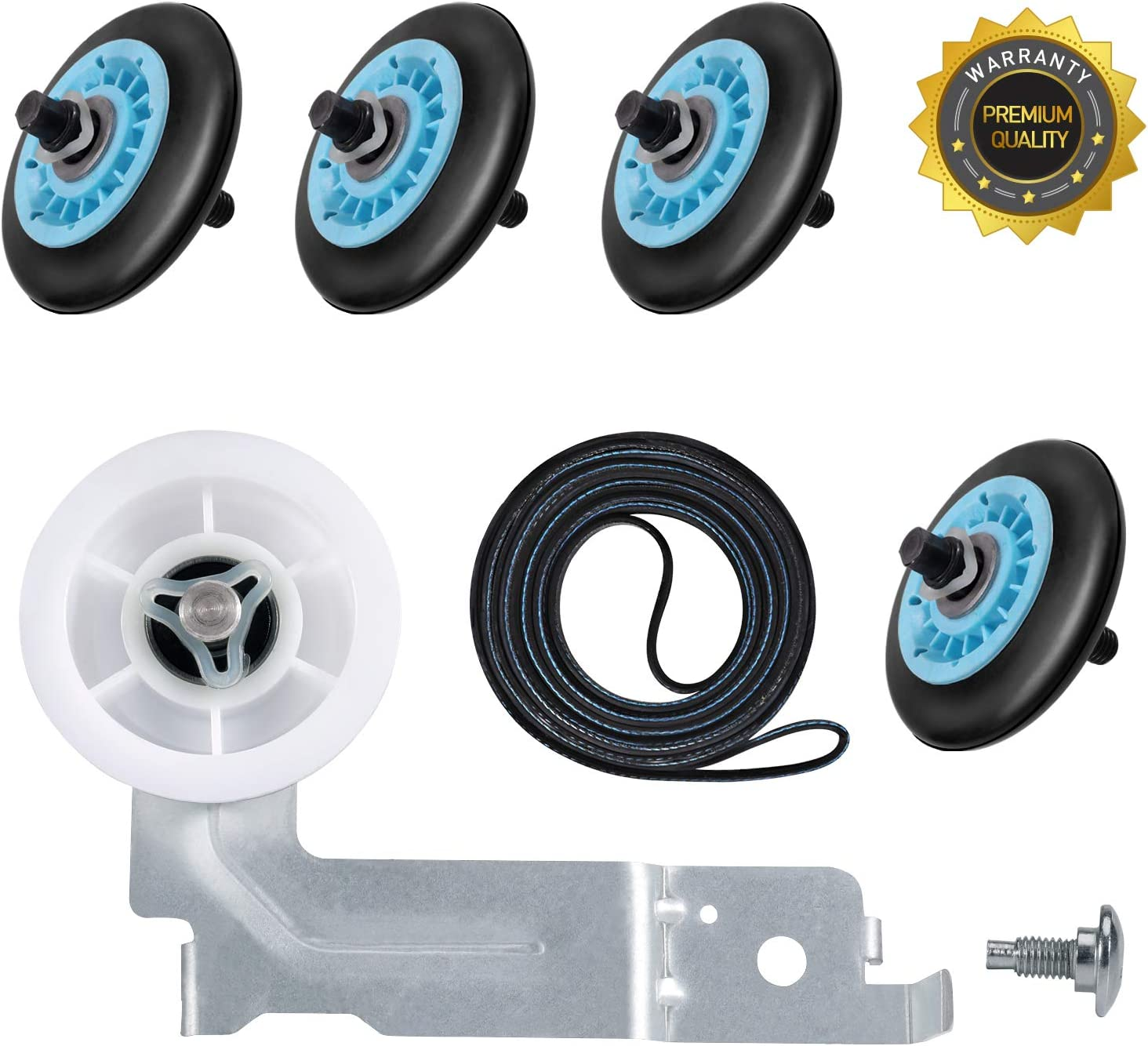 Dryer Repair Kit for Samsung, Dryer Idler Pulley (DC93-00634A) [Dual Ball Bearing], Dryer Belt (6602-001655), Dryer Roller (DC97-16782A), Replace AP5325135 AP4373659 AP6038887 PS4221885 PS4133825