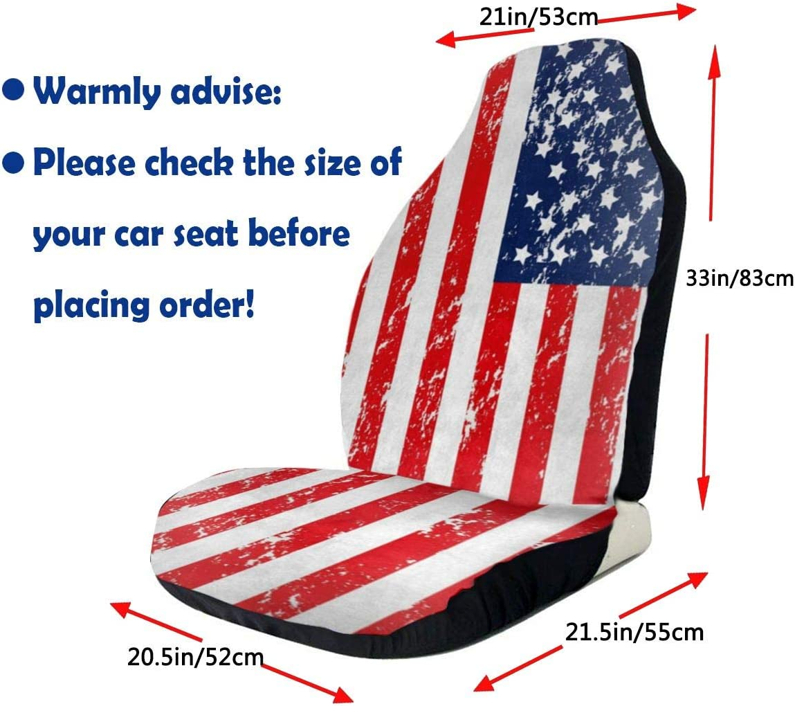 American Flag Star and Stripe Front Seat Covers Set of 2 SUV Vehicle Seat Protector Car Mat Fit Most Car Van Truck