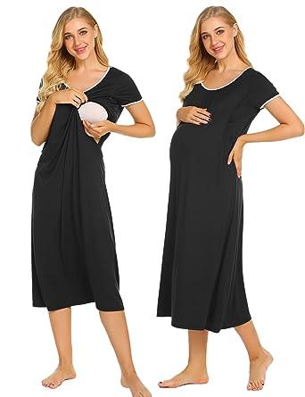 1a7542e6592a2 Ekouaer Nursing Nightgown Women's Short Sleeve Long Maternity Sleepwear for  Breastfeeding S-XXL