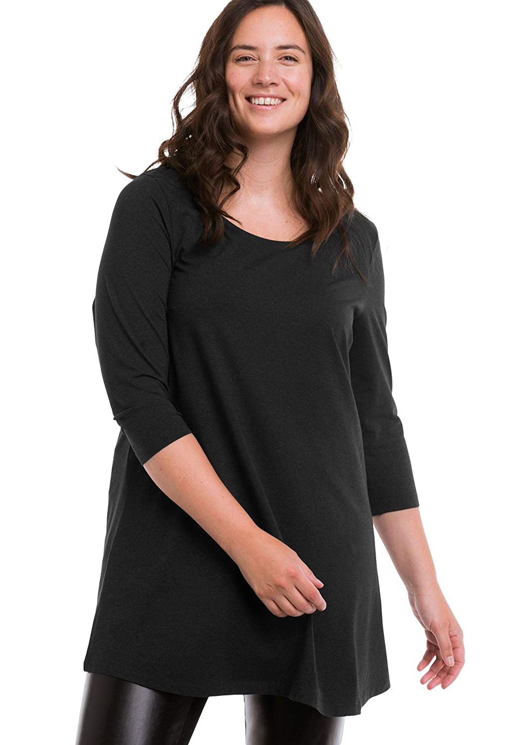 f51471a3686 Ellos Women's Plus Size 3/4 Sleeve Knit Tunic at Amazon Women's Clothing  store: