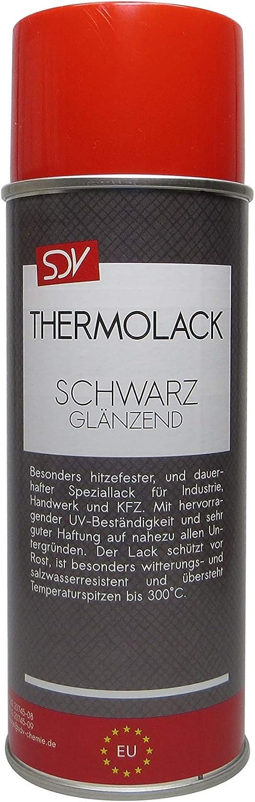 Sdv Chemie Thermolack Spray Schwarz Glänzend Bis 300 C 1x 400ml Auspufflack Ofenlack Motorlack Grill Lack Auto