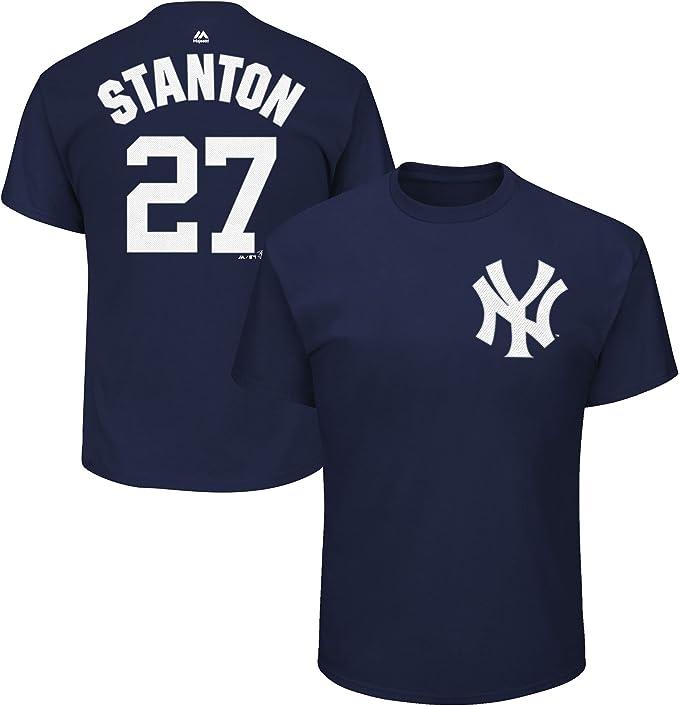 Genuine Stuff Giancarlo Stanton New York Yankees MLB Majestic Youth Boys 8-20 White Pinstripes Home Cool Base Replica Jersey