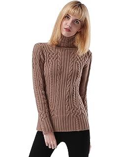 ninovino Women s Turtleneck Cable Knit Sweater Pullover Tops at ... 54e1df3de