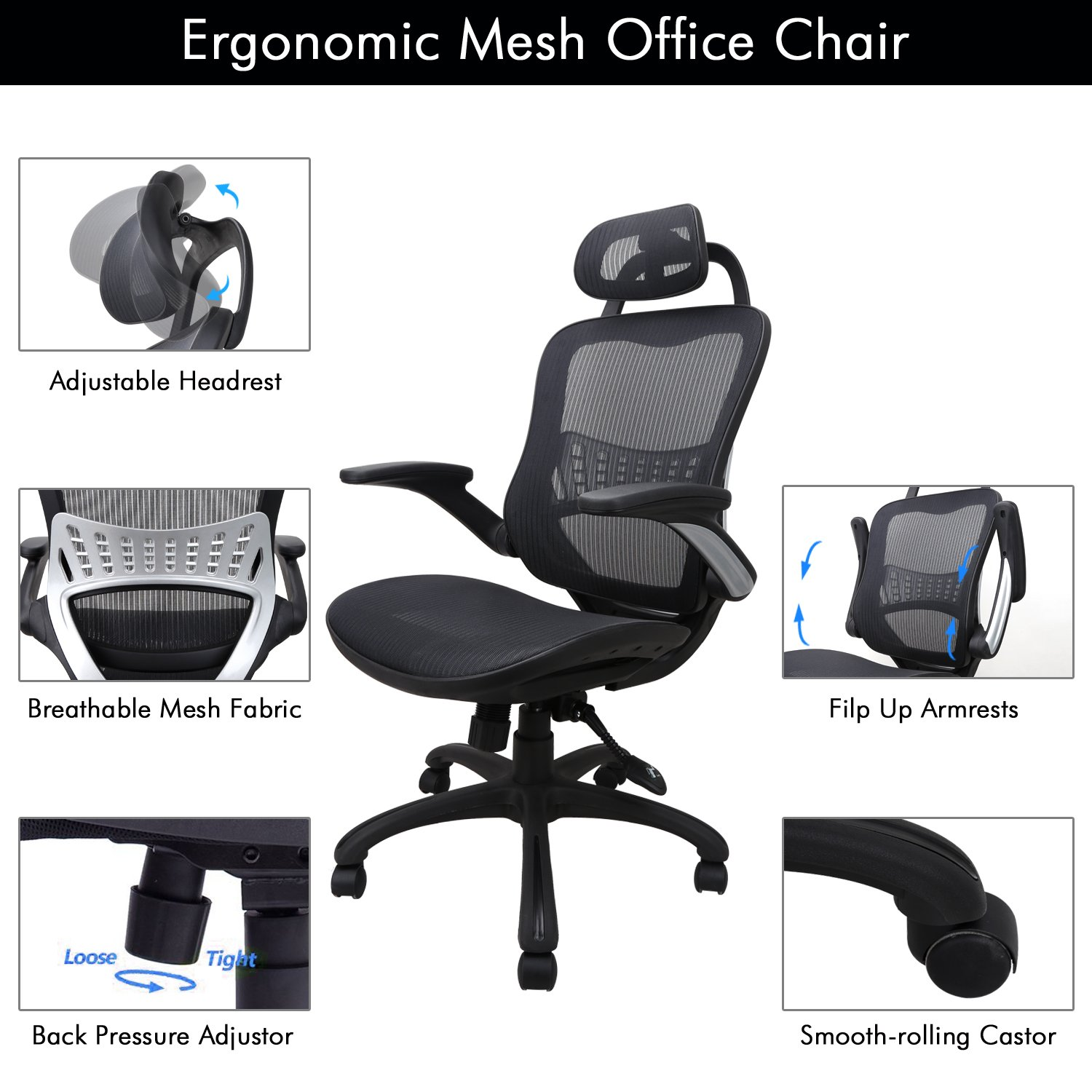 Ergonomic Office Chair: Passed BIFMA/SGS Weight Support Over 300Ibs,Breathable Mesh Cushion &High Back - Executive Chairs with Adjustable Head& Backrest,Flip-up Armrests,360-Degree Swivel Chair by Komene (Image #4)