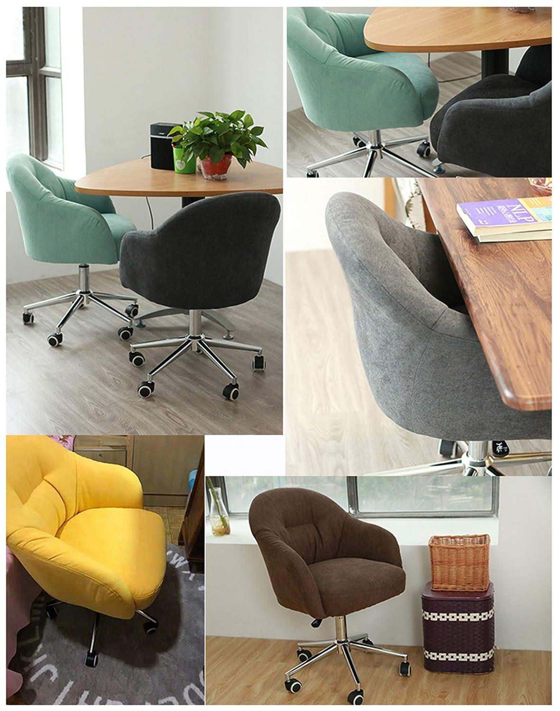 LYJBD rullande svängbar stol, ergonomisk datorstol med justerbar höjd, bekväm armlös skrivbordsstol tjock sittdyna gRÖN