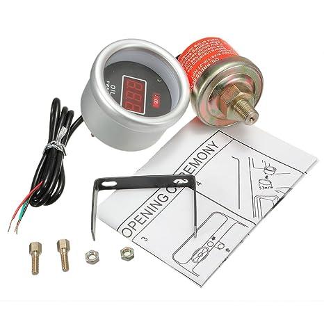 Amazon.com: AE Market 52mm Red Digital Oil Pressure Gauge Bar Display With Sensor Fitting Kit: Kitchen & Dining