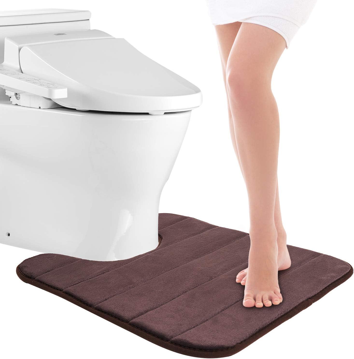 Pretigo Memory Foam Toilet Bath Mat U-Shaped, Ultra Soft Non Slip and Absorbent Bath Rug for Bathroom Commode Contour Rug (20
