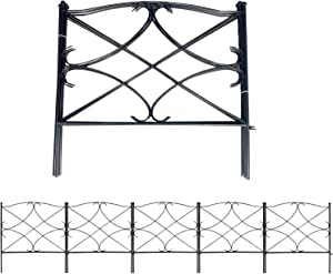 AshmanOnline Galvanized Garden Fence 24in x 10ft - Outdoor Rustproof Metal Landscape Fencing Wrought Iron Wire Gate Border Edge Folding Patio Flower Bed Animal Barrier Section Edging Black (Set of 5)