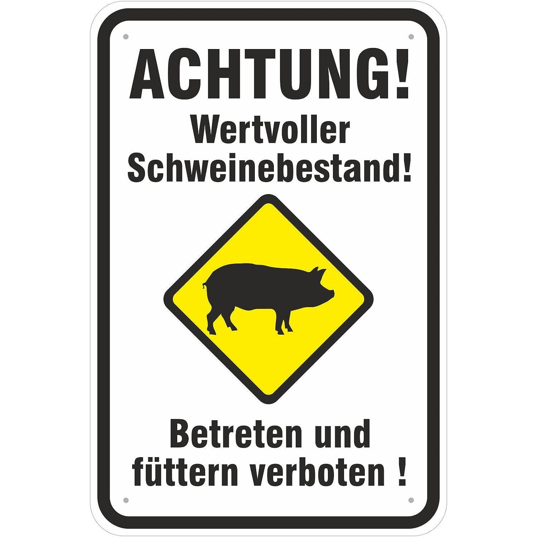 Aufkleber Achtung wertvoller Schweinebestand Schweine PVC Folie selbstklebend 20 x 30 cm