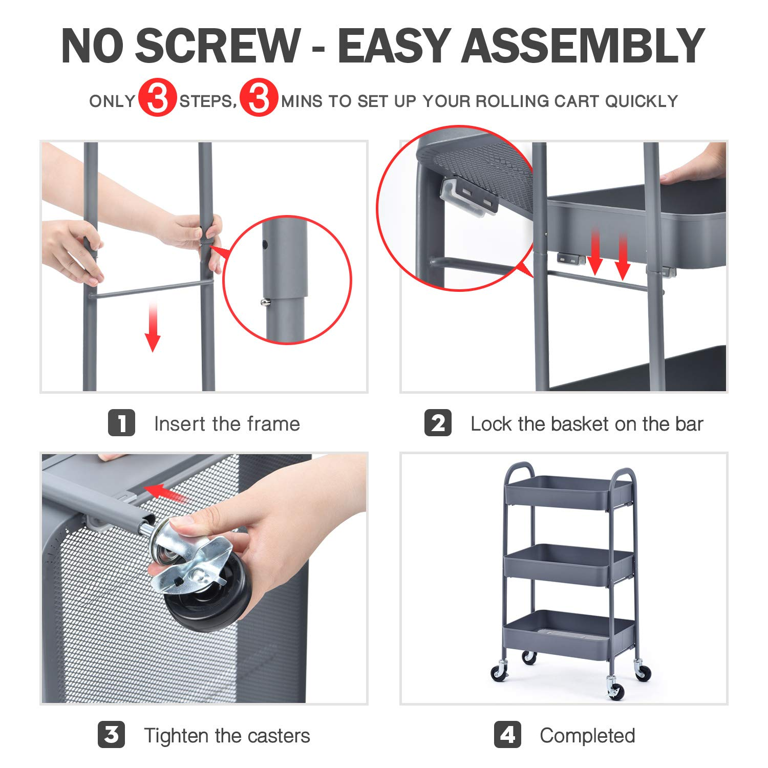 Locking Wheels,for Kitchen Garage Home Bedroom Bathroom KINGRACK 3 Tier Rolling Cart Grey Easy Assemble Utility Serving Cart,Sturdy Storage Trolley with Handles No Screw Metal Utility Cart