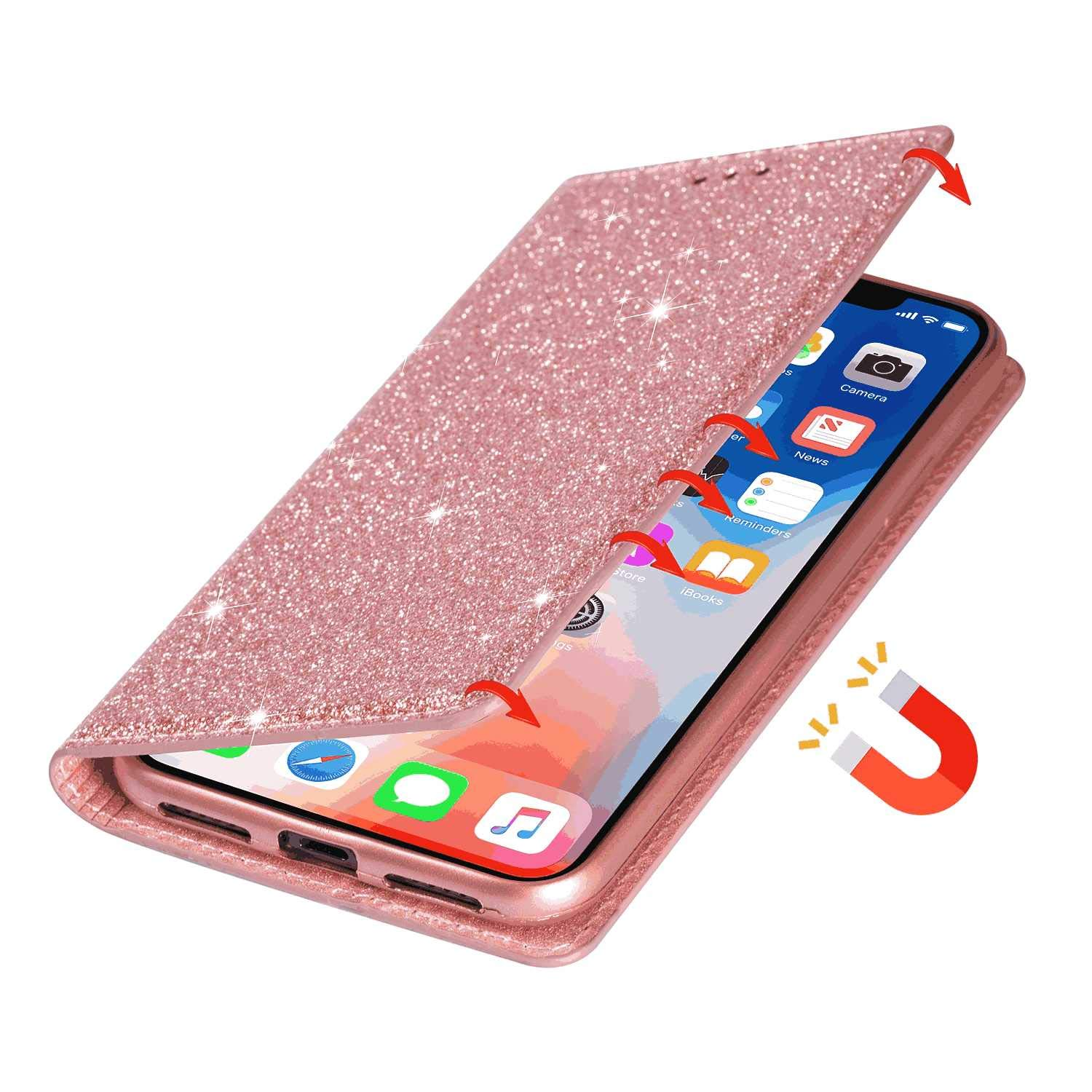 Rose Gold Wallet Case for Samsung Galaxy Note 10 PU Leather Flip Cover Compatible with Samsung Galaxy Note 10