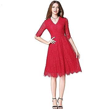 JUWOJIA La Nueva Mujer De Gama Alta De Verano Pista Encaje Vestido Rojo con Cuello En