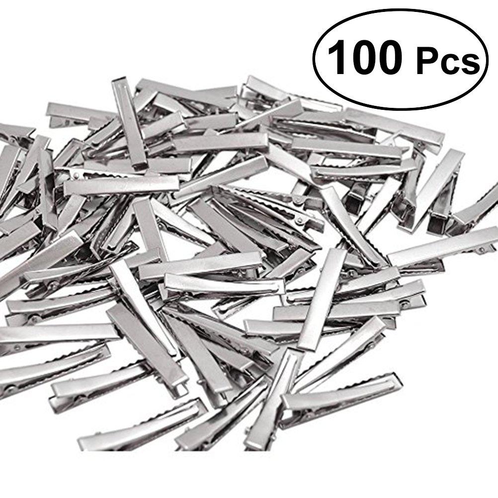 ROSENICE 4cm pinzas de pelo de cocodrilo de metal solo diente Duckbills Barrette arco DIY 100 piezas