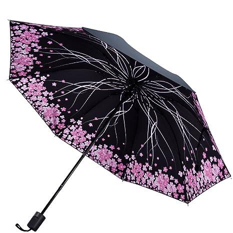 Guoke Paraguas Protector Solar Uv Vinilo Resistente Paraguas Paraguas Plegable Chica Soleada Lluvia, Dos Sakura