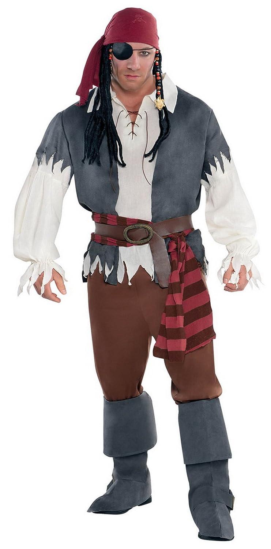 Confettery - Herren Kostüm Piratenkostüm Pirat mit Hemd Weste Hose Bandana Hüfttuch Gürtel Schuhüberzieher, 2XL, Mehrfarbig