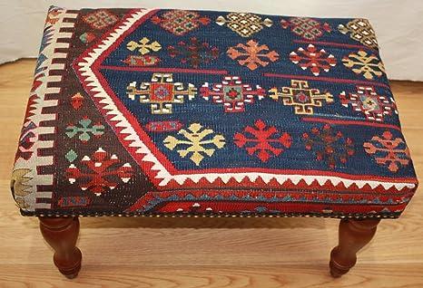 Antico kilim sgabello dimensioni altezza larghezza x