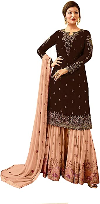 Amazon Com Delisa Ready Made New Designer Indian Pakistani Sharara Style Salwar Suit For Women Fiona Clothing
