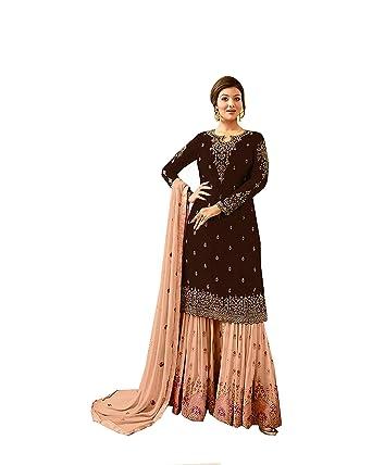 c89fa6f500 ziya Women's Ethnic Indian Pakistani Pant Salwar Kameez Sharara Fiona  (Brown, ...