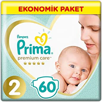 Prima Bebek Bezi Premium Care, 2 Beden, 60 Adet, Mini Jumbo Paket