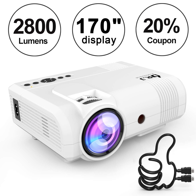 DR. J Professional 2800 Brightness Home Theater Mini Projector Max. 170'' Display, Full HD LED Projector 1080P/HDMI/VGA/USB/TF/AV/Sound Bar/ Video Games/TV 1080P Support (White)