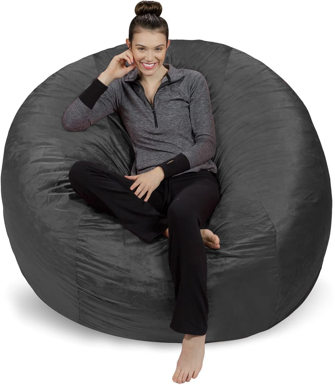 Sofa Sack - Plush Ultra Soft Bean Bags Chairs for Kids, Teens, Adults - Memory Foam Beanless Bag Chair with Microsuede Cover - Foam Filled Furniture for Dorm Room - Charcoal 6'